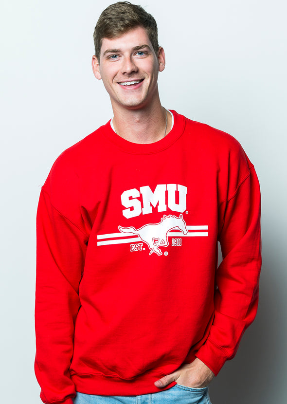 Southern Methodist University Mustangs Crewneck Sweatshirt - Red