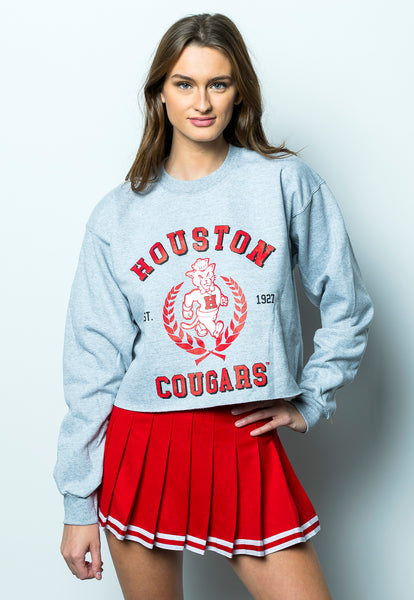 University of Houston Cougars Vintage Shasta Crewneck Cropped Sweatshirt - Grey