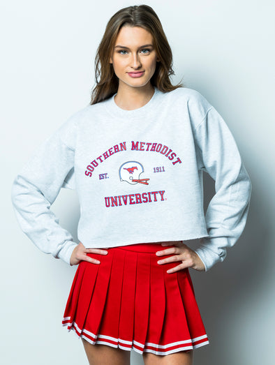 Southern Methodist University Vintage Football Crewneck Cropped Sweatshirt - Ash Grey