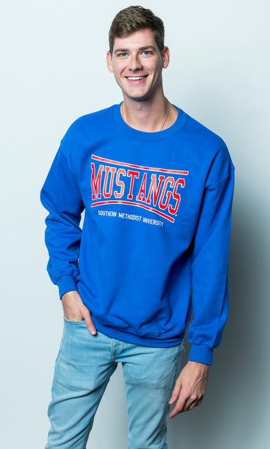 Southern Methodist University Mustangs Retro Bend Crewneck Sweatshirt - Royal Blue