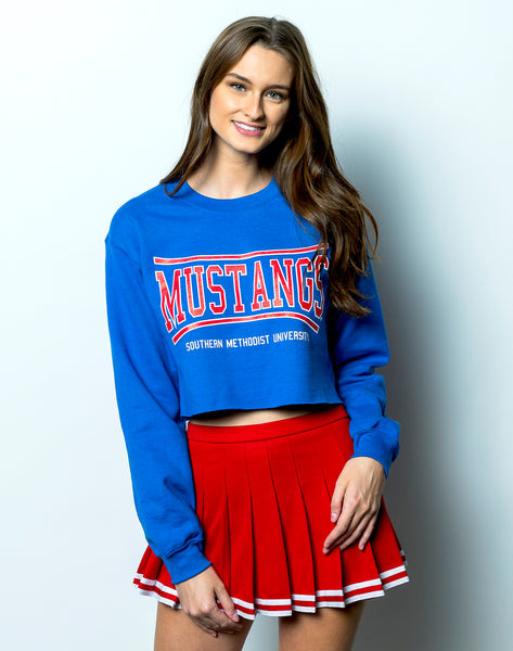 Southern Methodist University Mustangs Retro Bend Crewneck Cropped Sweatshirt - Royal Blue