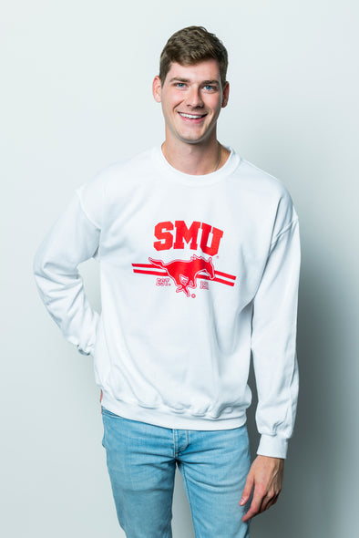 Southern Methodist University Mustangs Crewneck Sweatshirt - White