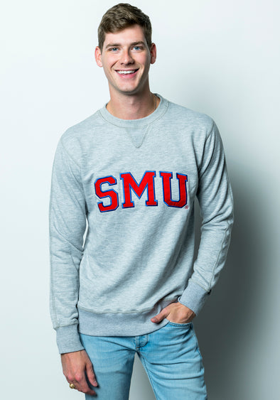 Southern Methodist University Tackle Twill French Terry Crewneck Sweatshirt - Sport Grey