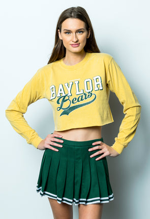 Baylor University Bears Retro Comfort Colors Long Sleeve Cropped T-Shirt - Yellow