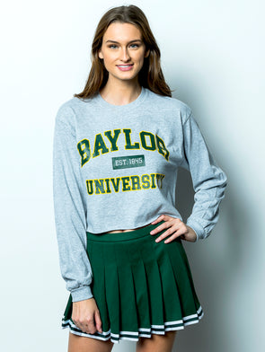 Baylor University Bears Long Sleeve Cropped T-Shirt - Grey