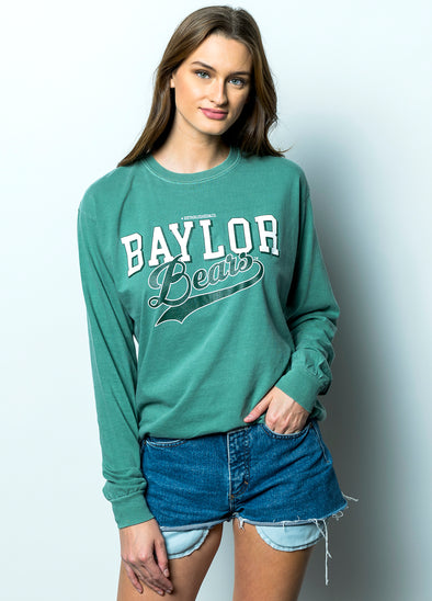 Baylor University Bears Retro Comfort Colors Long Sleeve T-Shirt - Light Green