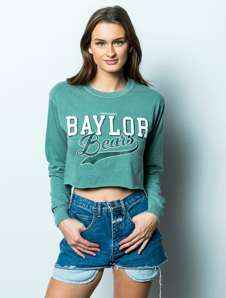 Baylor University Bears Retro Comfort Colors Long Sleeve Cropped T-Shirt - Light Green
