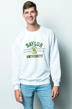 Baylor University Bears Mclane Crewneck Sweatshirt - White