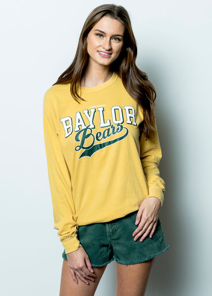Baylor University Bears Retro Comfort Colors Long Sleeve T-Shirt - Yellow