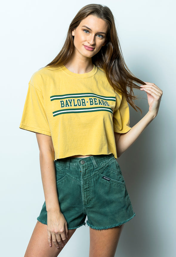 Baylor University Bears Retro Stripe Comfort Colors Short Sleeve Cropped T-Shirt - Yellow