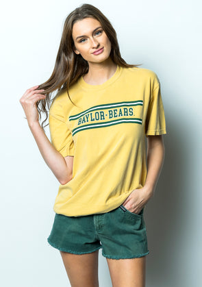 Baylor University Bears Retro Stripe Comfort Colors Short Sleeve T-Shirt - Yellow