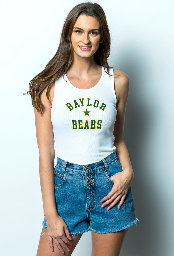 Baylor University Bears Star Ribbed Tank Top - White