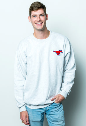 Southern Methodist University Vintage Chenille Pony Crewneck Sweatshirt - Ash Grey