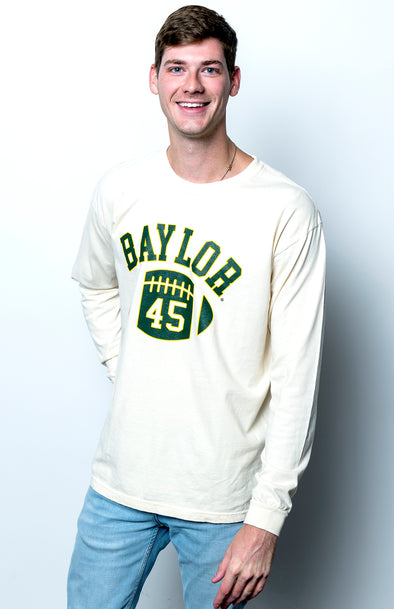 Baylor University Bears First Down Comfort Colors Long Sleeve T-Shirt - Ivory
