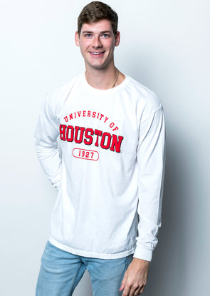 University of Houston Cougars 1927 Comfort Colors Long Sleeve T-Shirt - White