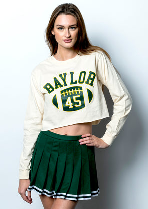 Baylor University Bears First Down Comfort Colors Long Sleeve Cropped T-Shirt - Ivory