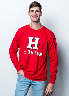University of Houston Cougars Vintage H Comfort Colors Long Sleeve T-Shirt - Red