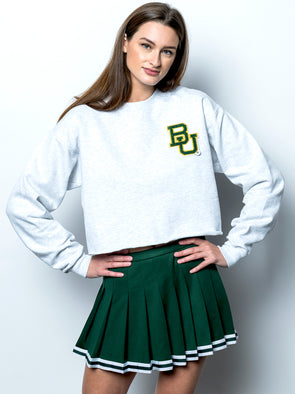 Baylor University Bears Vintage Chenille Interlocking BU Crewneck Cropped Sweatshirt - Ash Grey