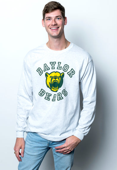 Baylor University Bears Touchdown Long Sleeve T-Shirt - Ash Grey