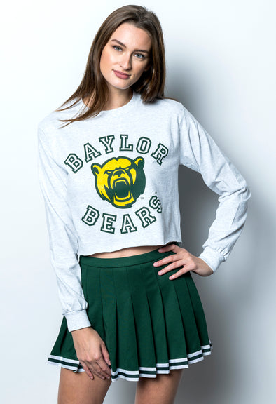 Baylor University Bears Touchdown Long Sleeve Cropped T-Shirt - Ash Grey