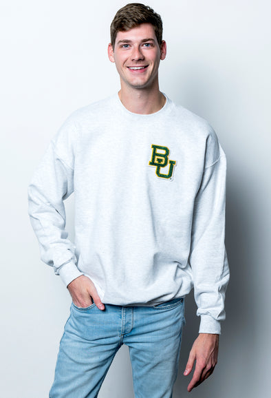 Baylor University Bears Vintage Chenille Interlocking BU Crewneck Sweatshirt - Ash Grey
