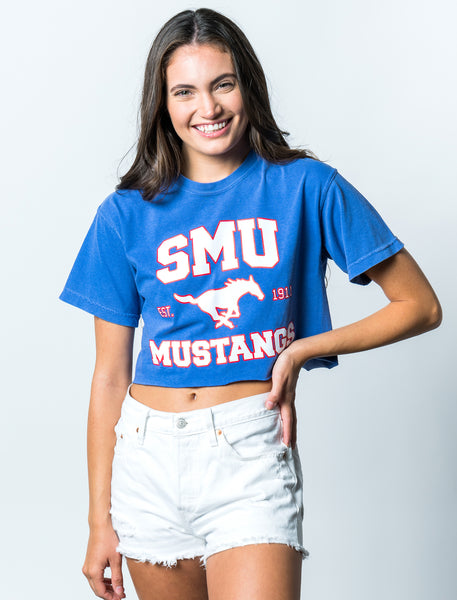 Southern Methodist University Mustangs Comfort Colors Cropped T-Shirt - Blue