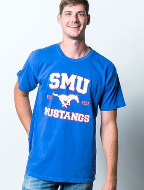 Southern Methodist University Mustangs Comfort Colors T-Shirt - Blue