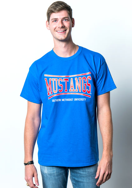 Southern Methodist University Mustangs Retro Bend Short Sleeve T-Shirt - Royal Blue