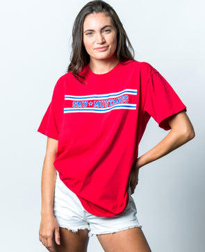 Southern Methodist University Mustangs Retro Stripe Comfort Colors T-Shirt - Red