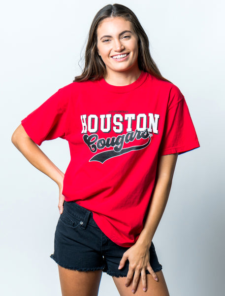 University of Houston Cougars Retro Comfort Colors Short Sleeve T-Shirt - Red