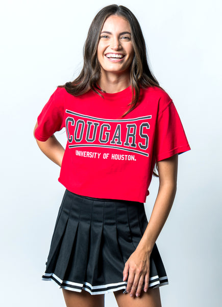 University of Houston Cougars Retro Bend Comfort Colors Short Sleeve Cropped T-Shirt - Red