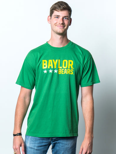Baylor University Bears Triple Star Comfort Colors Short Sleeve T-Shirt - Green