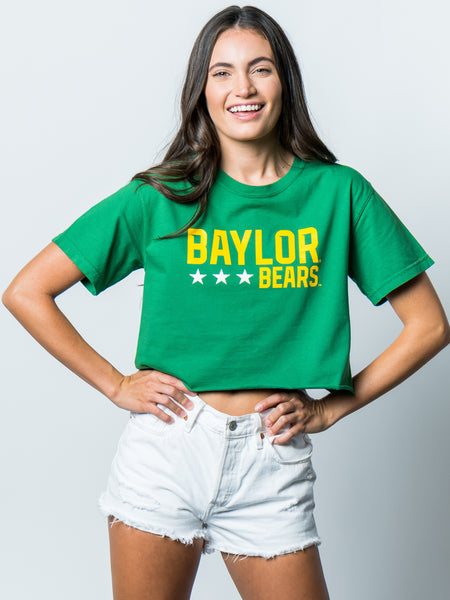Baylor University Bears Triple Star Comfort Colors Short Sleeve Cropped T-Shirt - Green