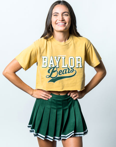 Baylor University Bears Retro Comfort Colors Short Sleeve Cropped T-Shirt - Yellow