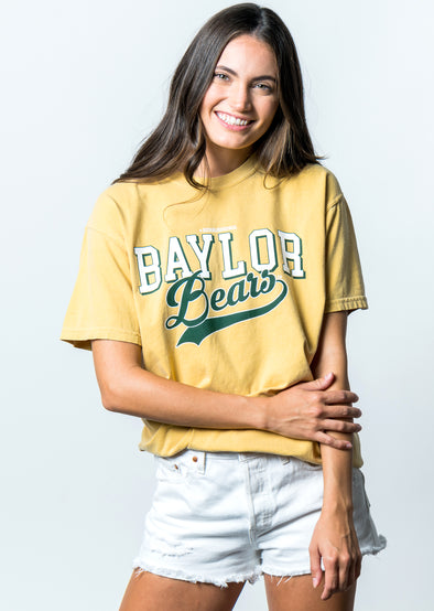 Baylor University Bears Retro Comfort Colors Short Sleeve T-Shirt - Yellow