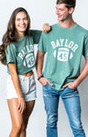 Baylor University Bears First Down Comfort Colors Short Sleeve Cropped T-Shirt - Light Green