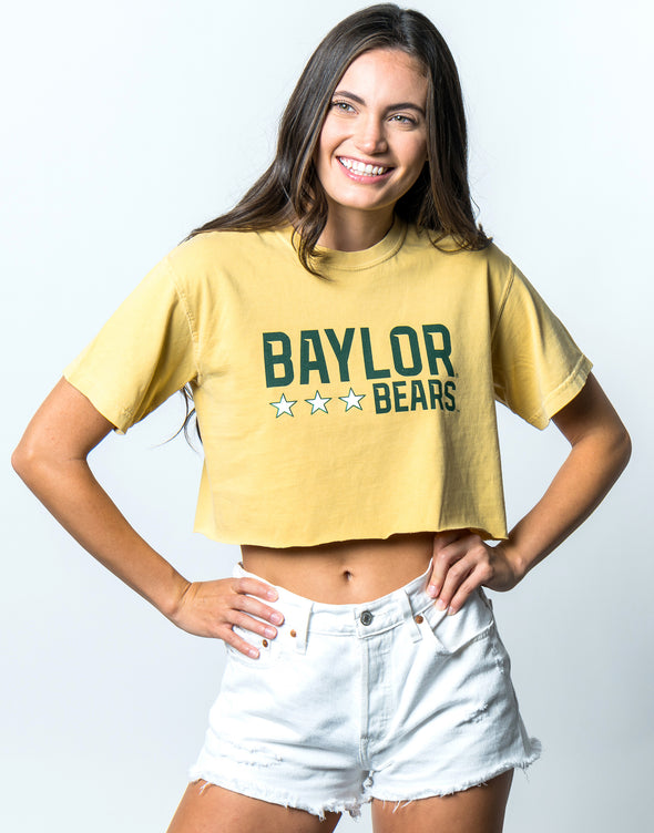 Baylor University Bears Triple Star Comfort Colors Short Sleeve Cropped T-Shirt - Yellow