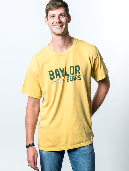 Baylor University Bears Triple Star Comfort Colors Short Sleeve T-Shirt - Yellow