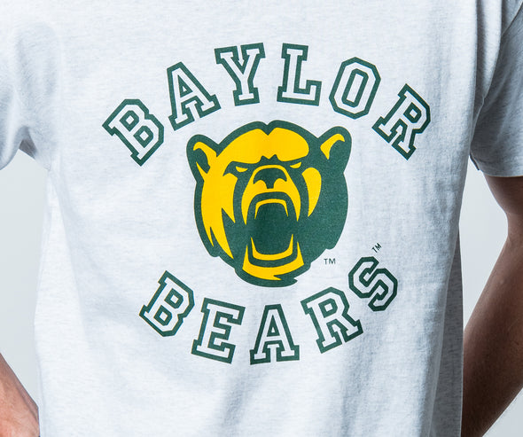 Baylor University Bears Touchdown Short Sleeve Cropped T-Shirt - Ash Grey