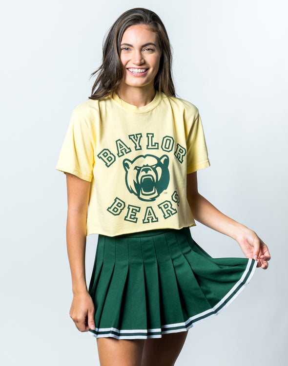Baylor University Bears Touchdown Comfort Colors Short Sleeve Cropped T-Shirt - Butter