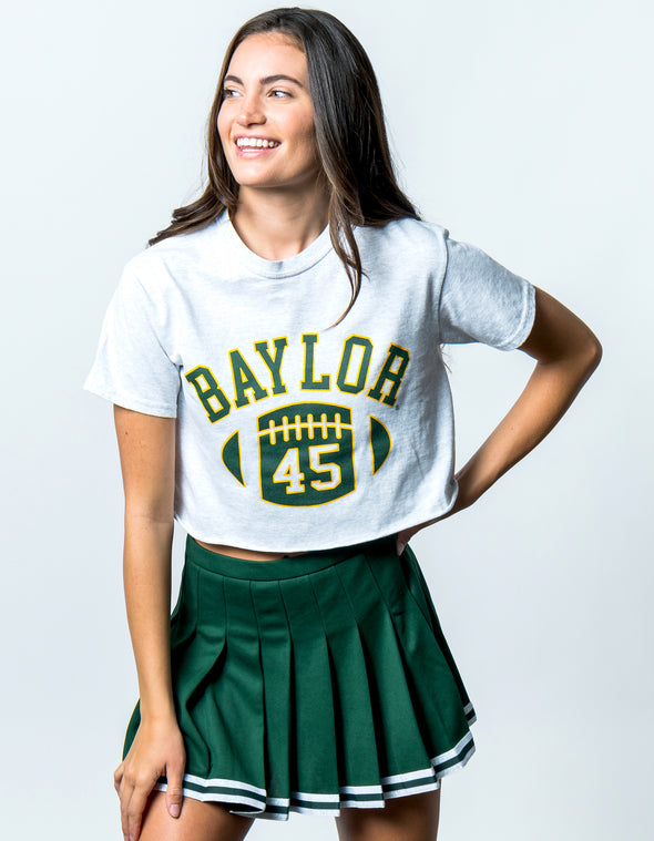 Baylor University Bears First Down Short Sleeve Cropped T-Shirt - Ash Grey