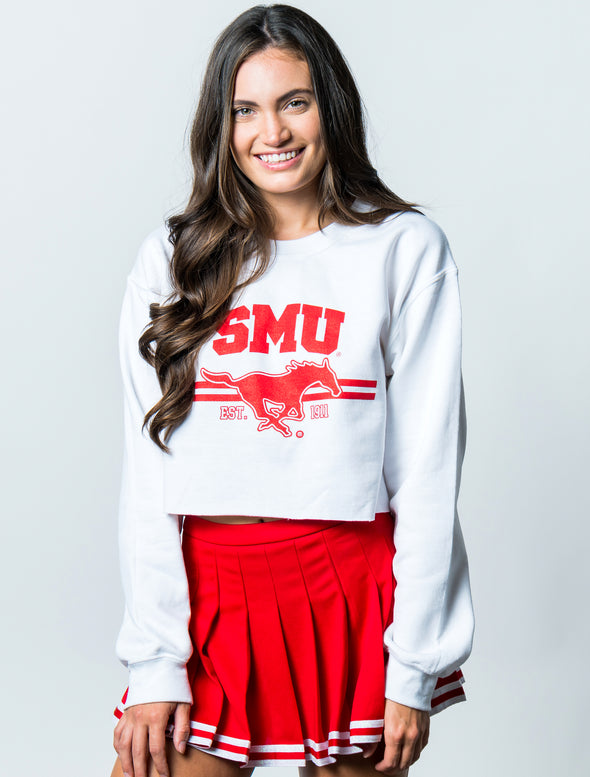 Southern Methodist University Mustangs Crewneck Cropped Sweatshirt - White