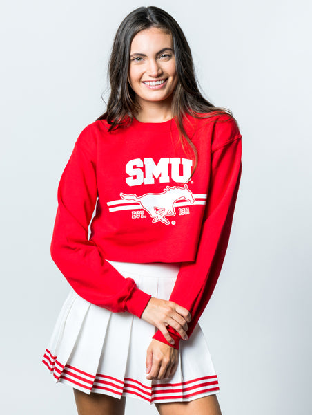 Southern Methodist University Mustangs Crewneck Cropped Sweatshirt - Red