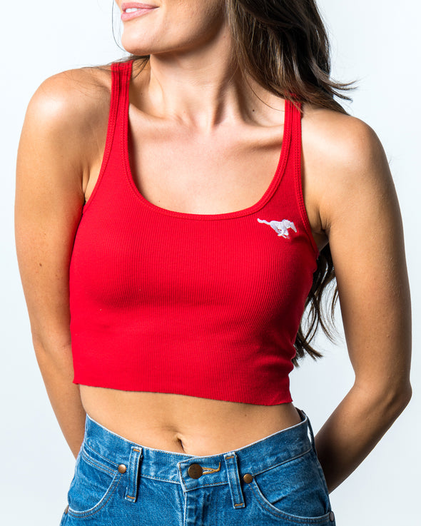 Southern Methodist University Pony Up Cropped Tank Top - Red