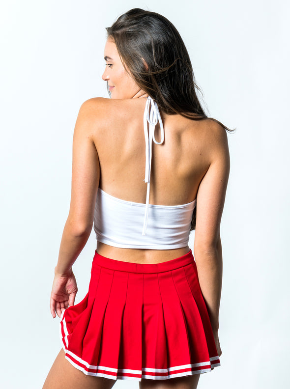 University of Houston Cougars Cropped Halter Top - White