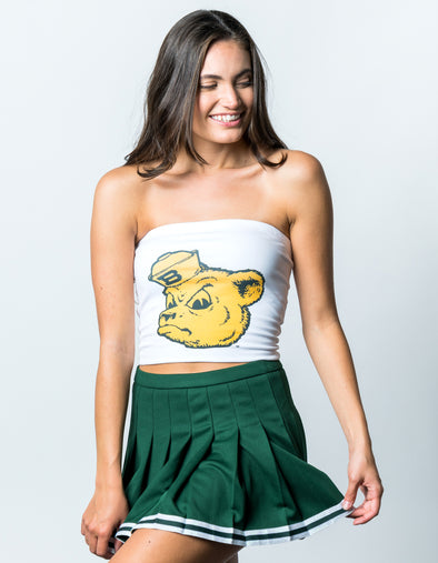 Baylor University Jumbo Sailor Bear Cropped Tube Top - White