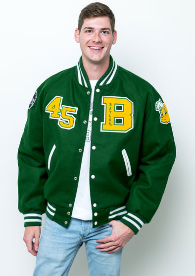 Baylor University Bears Vintage Collegiate Wool Letterman Jacket - Green