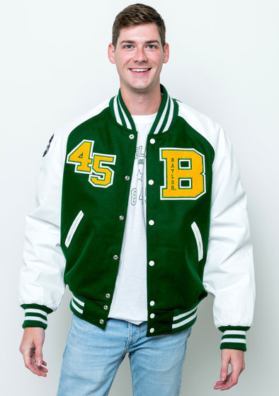Baylor University Collegiate Wool and Leather Letterman Jacket - Green with White Sleeves
