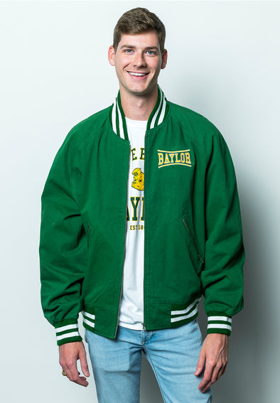 Baylor University Bears Retro Bend Vintage Replica Cotton Twill Coach's Jacket - Green