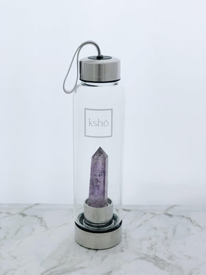 Amethyst Crystal Infused Water Bottle bottle kessho
